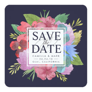 """Wildflower Bouquet Save the Date 5.25"""" Square Invitation Card"""
