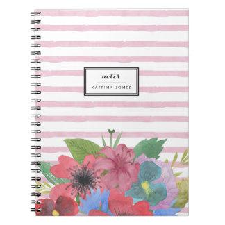 Wildflower Bouquet Watercolor Stripe Notebooks