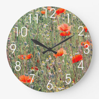Wildflower Field and Red Poppies Blooming Wallclocks