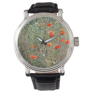 Wildflower Field and Red Poppies Blooming Watches