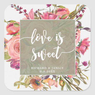 wildflower floral love is sweet sticker wedding