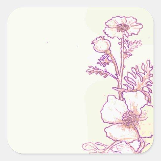 Wildflower Floral Poppy flower sketch  Stickers