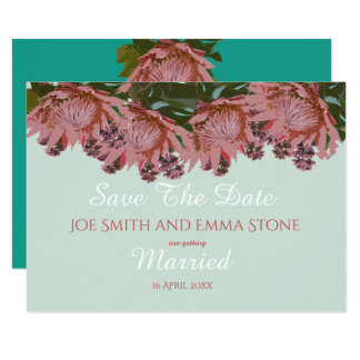 Wildflower greens and pinks Wedding Save The Date Card