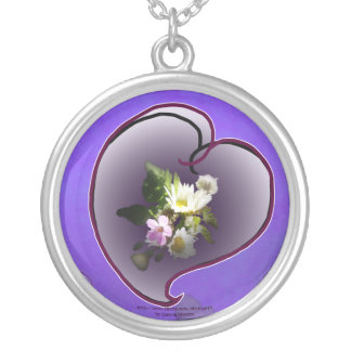 wildflower heart silver plated necklace