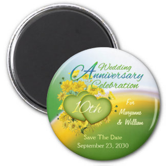 Wildflower Hearts 10th Wedding Anniversary Party Magnet