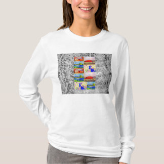 wildflower landscape collage silver drip T-Shirt