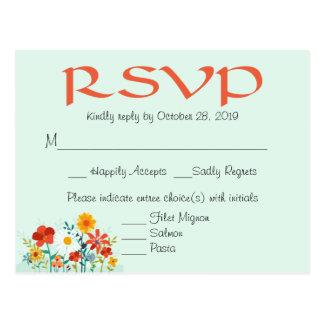 Wildflower Mint Floral Wedding RSVP Response Postcard