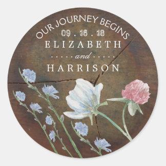 Wildflower Oak Wood Wedding Favor Classic Round Sticker