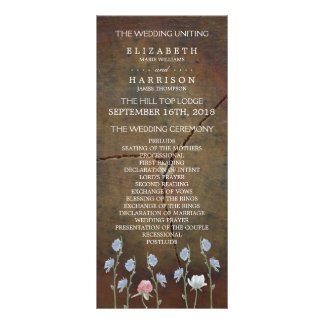 Wildflower Oak Wood Wedding Program