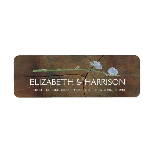 Wildflower Oak Wood Wedding Return Address Label