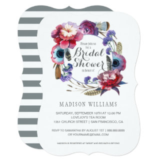 Wildflower Peony Floral Feathers | Bridal Shower Card