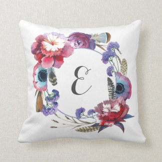 Wildflower Peony Floral with Feathers | Monogram Throw Pillow