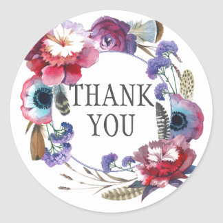 Wildflower Peony Floral with Feathers | Thank You Classic Round Sticker