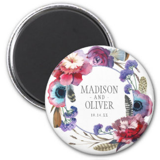 Wildflower Peony Floral with Feathers | Wedding 2 Inch Round Magnet