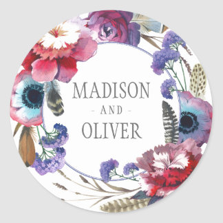 Wildflower Peony Floral with Feathers | Wedding Classic Round Sticker