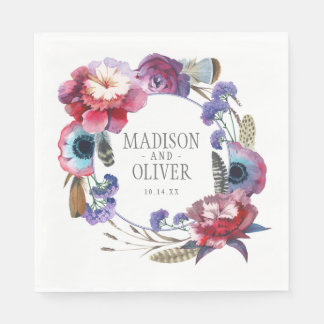 Wildflower Peony Floral with Feathers | Wedding Disposable Napkins