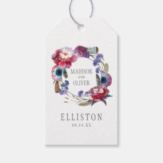 Wildflower Peony Floral with Feathers   Wedding Pack Of Gift Tags