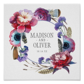 Wildflower Peony Floral with Feathers | Wedding Poster