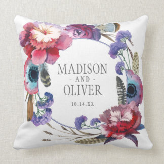 Wildflower Peony Floral with Feathers | Wedding Throw Pillow