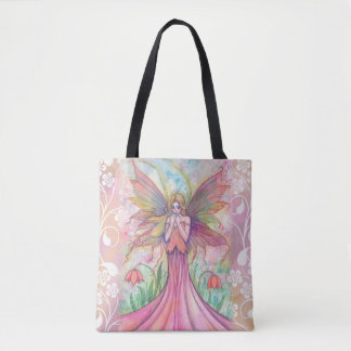 Wildflower Pink Fairy Fantasy Art Illustration Tote Bag