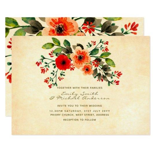 Wildflower Poppy Wedding Invitations Rustic