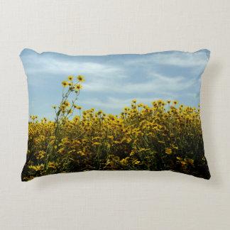 Wildflower Sunflower Landscape Accent Pillow