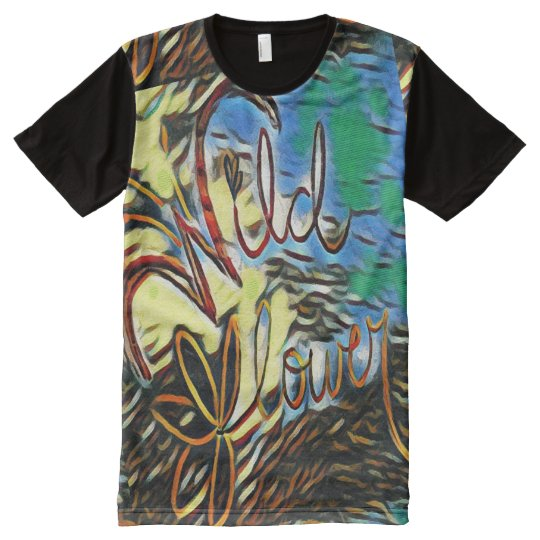 """Wildflower"" Typography Art All Over Print T Shirt"