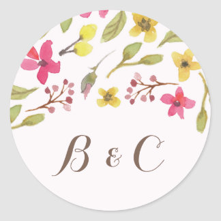 Wildflower Whimsy | Wedding Envelope Seal Round Sticker