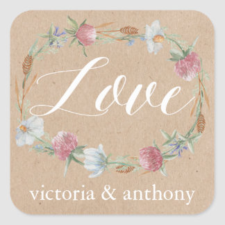 Wildflower Wreath On Kraft Country Wedding Square Sticker