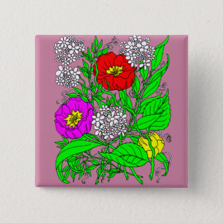 Wildflowers 2 2 inch square button