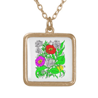 Wildflowers 2 gold plated necklace