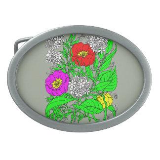 Wildflowers 2 oval belt buckle