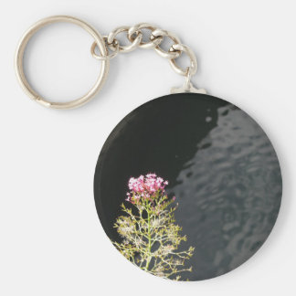 Wildflowers against the water surface of a river keychain