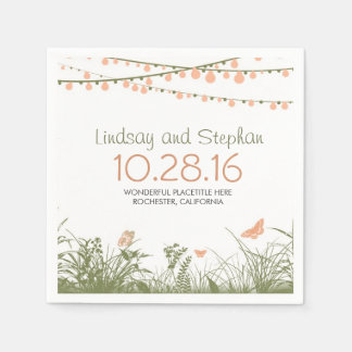 wildflowers and string lights paper napkins