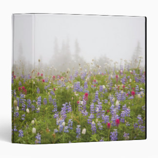 Wildflowers In A Meadow With Fog In Mt. Rainier Na 3 Ring Binders