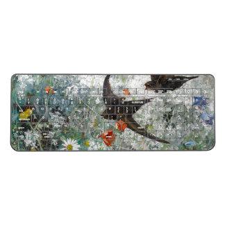 Wildflowers Meadow Swallow Birds Poppies Keyboard