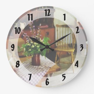Wildflowers on Kitchen Table Large Clock
