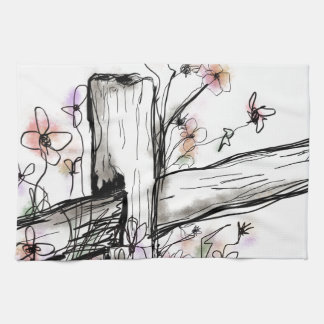 Wildflowers on the fence kitchen towel