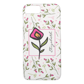 Wildflowers - Pink and Orange Petals Personalized iPhone 7 Case