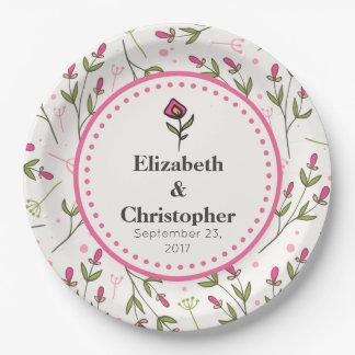 Wildflowers - Pink and Orange Petals Wedding Paper Plate