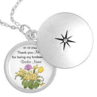 Wildflowers Wedding Souvenirs Keepsakes Giveaways Silver Plated Necklace