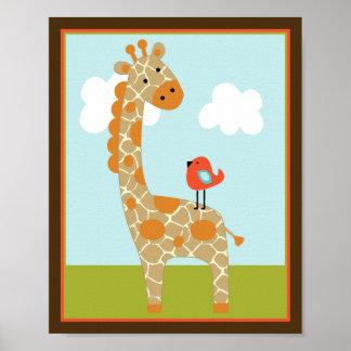 Wildlife Animals Giraffe with bird Art Poster