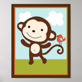 Wildlife Animals Monkey with bird Art Poster