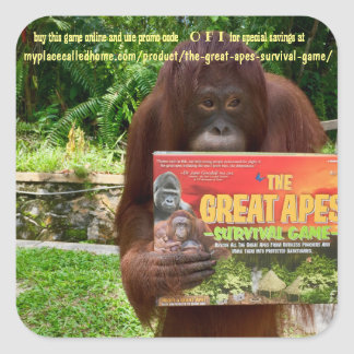Wildlife Apes Conservation Toy for Children Square Sticker