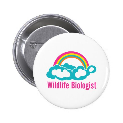 Wildlife Biologist Rainbow Cloud Buttons