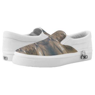 Wildlife Black Brown White Zips Slip On