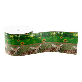 wildlife deer ribbon grosgrain ribbon