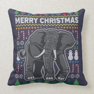 Wildlife Elephant Merry Christmas Ugly Sweater Throw Pillow