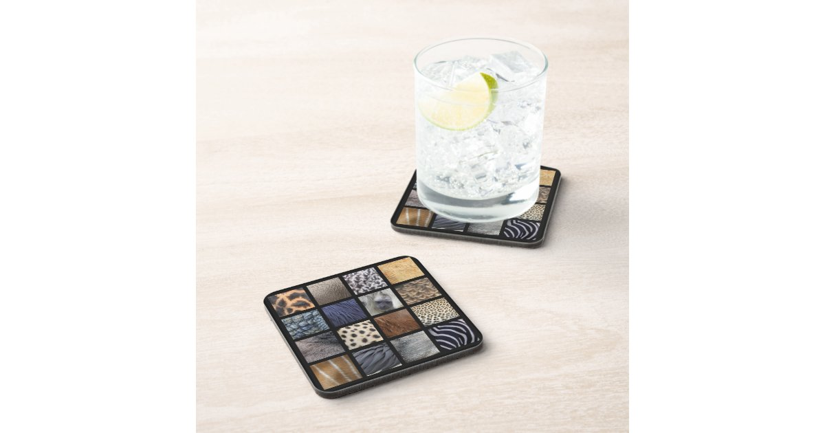 Wildlife Fur Feathers And Scales Collage Drink Coasters