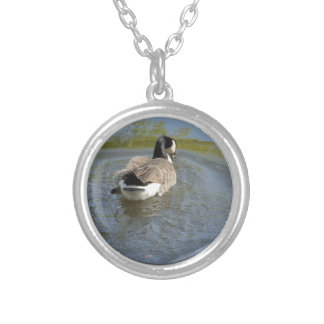Wildlife Goose swimming in Lake, Water Circle Silver Plated Necklace